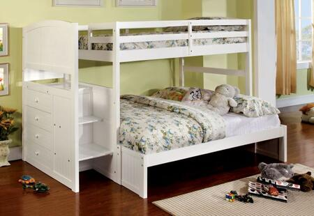 Appenzell Collection CM-BK922F-BED Twin Over Full Size Bunk Bed with Built-In Drawers  Front Access Steps  Solid Wood and Wood Veneer Construction in White