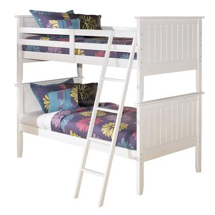 Lulu Collection B102-59P/59R/59S Twin over Twin Bunk Bed with Grooved Panels  Ladder Included and Replicated Paint in