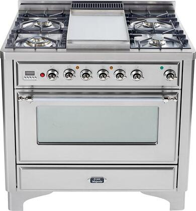 "UMT90FVGGI Majestic Techno 36"""" Freestanding Gas Range with 5 Burner  Griddle  Rotisserie  23 500 BTU  3.5 Cu. Ft. Capacity  2 Racks and Chrome Trim: Stainless"" 339228"