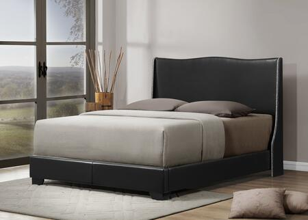 CF8356-QUEEN-BLACK Baxton Studio Duncombe Modern Bed With Upholstered Headboard - Queen Size  In