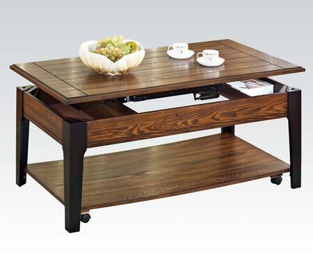 80260 Magus Rectangular Coffee Table with Lift Top  Lower Shelf  Casters and Tapered Legs in Brown Oak and Black