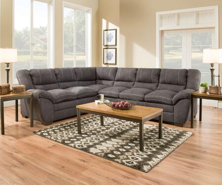 Palermo Collection 951103LB03RC Sectional with Double Needle Stitching  Pillow Top Seating  Split Back Cushions  Hardwood Lumber Frame and Soft Suede Fabric