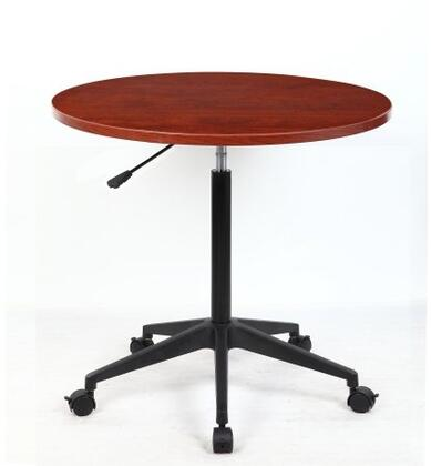 N30-C 32 inch  Mobile Round Table with Height Adjustment  Nylon Base and Wheel Casters in