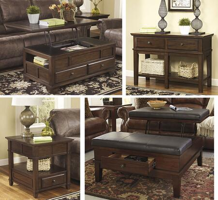 Gately T845CSOCE 4-Piece Living Room Table Set with Lift Top Cocktail Table  Console Sofa Table  Ottoman Cocktail Table and End Table in Medium Brown