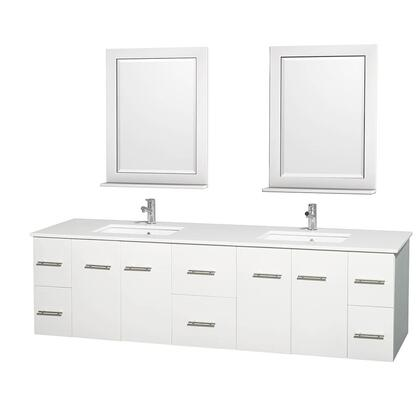 WCVW00980DWHWSUNSM24 80 in. Double Bathroom Vanity in White  White Man-Made Stone Countertop  Undermount Square Sink  and 24 in.