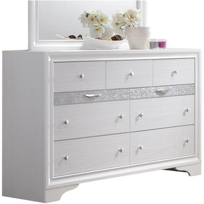 Naima Collection 25775 63 inch  Dresser with 9 Drawers  Silver Metal Hardware  Light Grey Acrylic Trim  Rubberwood and Chipboard Materials in White