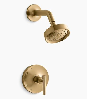 Purist K-TS14422-4-BGD Rite-Temp Shower Valve Trim with Lever Handle And 2.5 GPM Showerhead in Vibrant Modern Brushed