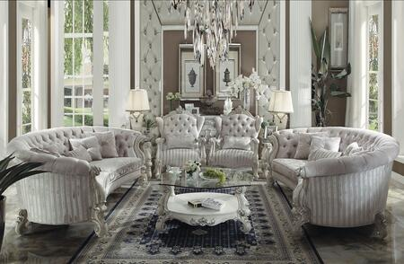 Versailles Collection 52085SET 7 PC Living Room Set with 2 Sofas + 2 Accent Chairs + 2 End Tables + Coffee Table in Bone White