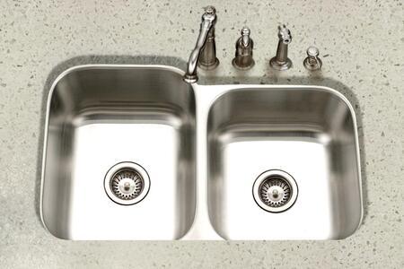 PNE-3300SR-1 Eston Series Undermount Stainless Steel 60/40 Double Bowl Kitchen Sink  Small Bowl Right  16
