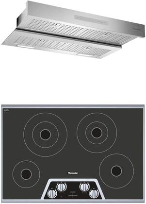 """Thermador 2 Piece Kitchen Appliances Package with CEM304NS 30"""" Electric Cooktop and HMDW30WS 30"""" Under Cabinet Insert Hood in Stainless"""
