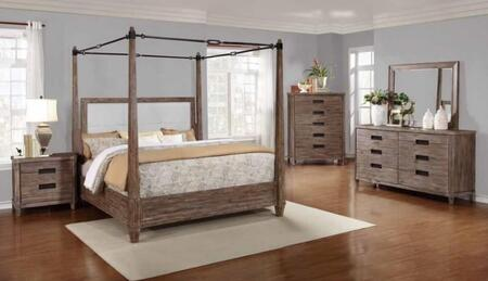 Madeleine Collection 203541KW5SET 5 PC Bedroom Set with California King Size Canopy Bed + Dresser + Mirror + Chest + Nightstand in Smoky Acacia