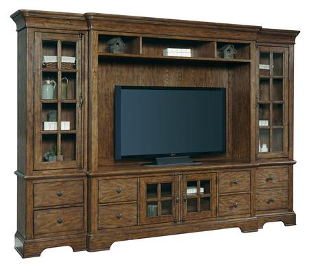 American Attitude Collection 8854-167ENT 4-Piece Entertainment Center with Console  Deck  Left Pier and Right Pier in  Medium Wood
