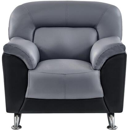 U9102DGRBLCHAIR 37 inch  Chair with Plush Padded Arms  Stainless Steel Legs and Stitched Detailing in Grey and Black