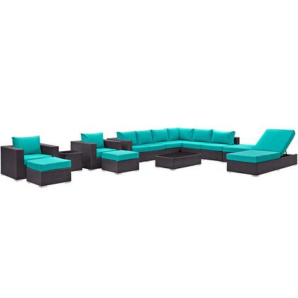 Convene Collection EEI-2165-EXP-TRQ-SET 12-Piece Outdoor Patio Sectional Set with Chaise Lounge  Coffee Table  Side Table  Square Ottoman  2 Armchairs  2