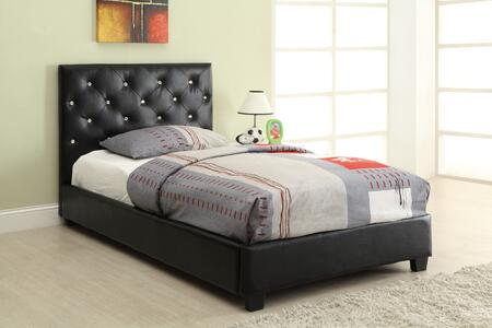 Regina Bed Collection 300391T Twin Size Bed with Leatherette Upholstery  Button Tufted Headboard and Sturdy Wood Frame Construction in