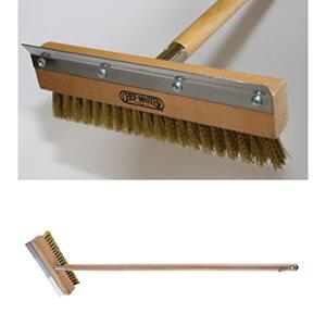 90041 Classic Pizza Oven Brush with 40 inch  Handle  10 inch  Head  Brass Bristles  Stainless Steel Scraper Blade  Double Crimpled