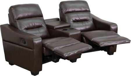 BT-70380-2-BRN-GG Futura Series 2-Seat Reclining Brown Leather Theater Seating Unit with Cup 548614