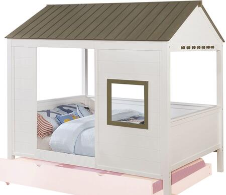 Cobin Collection CM7133-BED Full Size Bed with House Design  Plank Style Roof Top  Knob Hangers and Wood Veneers Construction in Grey and White
