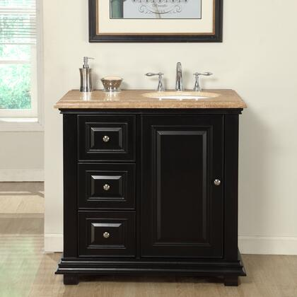 V0281TW36R 36 inch  Single Right Sink Cabinet with 3 Drawers  1 Door  Travertine Top and Undermount White Ceramic Sink