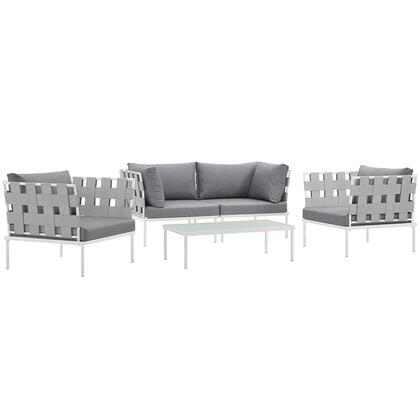 Harmony Collection EEI-2623-WHI-GRY-SET 5-Piece Outdoor Patio Aluminum Sectional Sofa Set with Coffee Table  2 Armchairs and 2 Corner Sofas in