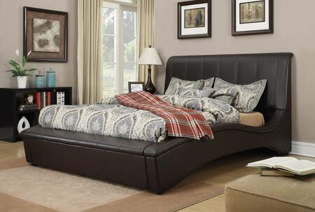 Matthew Collection 24627EK King Size Bed with Curved Design  Wood Frame  Black Plastic Legs and Faux Leather Upholstery in Espresso