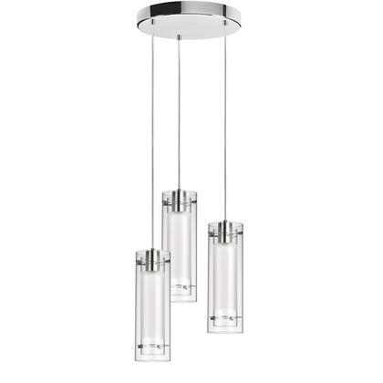 53153R-790-PC 3 Light  Round Pendant  Polished Chrome  Clear Glass  White Fabric