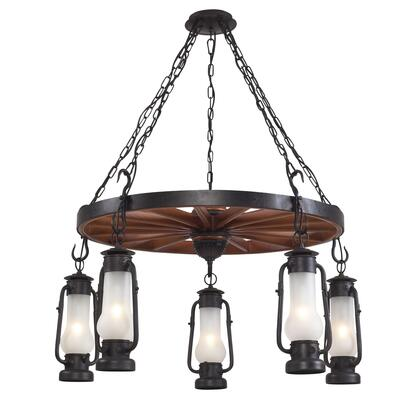 Stagecoach 65007-5 Five-Light Chandelier in Matte Black And Acid Etched