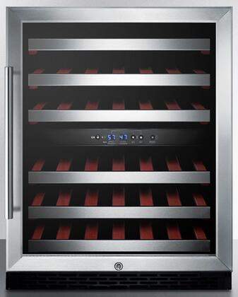 Summit SWC530BLBISTADA 24 Inch Built-In and Freestanding Dual Zone Wine Cooler with 46 Bottle Capacity, Right Hinge, Glass Door, With Lock, 6 Extension Wine Racks, Digital Control, Compressor Cooling, Factory Installed Lock, CFC Free in Stainless Steel