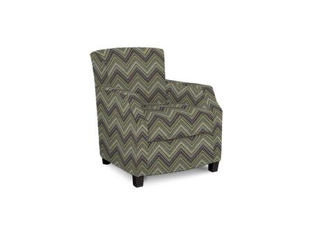 Comiskey Connection 1149-02/BE45-5 28 inch  Accent Chair with Fabric Upholstery  Tapered Wood Legs  Tight Back and Contemporary Style in Woven Flamestitch