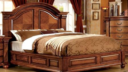Bellagrand Collection CM7738Q-BED Queen Size Bed with Luxurious Masterpiece  Curved Headboard  Solid Wood and Wood Veneers Construction in Antique Tobacco Oak