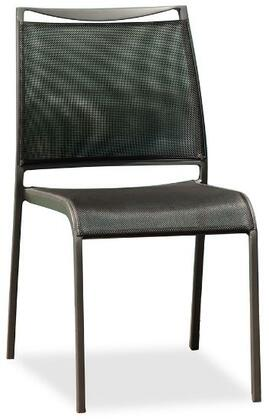 Aloha Collection ODC1566 Outdoor Stackable Dining Side Chair with Aluminum Frame Construction  Modern Style  Textilene Sling Seat and Back Material in Grey