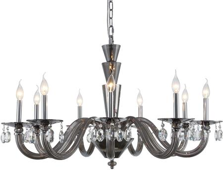7870G39SS/RC 7870 Augusta Collection Chandelier D:39In H:23In Lt:9 Silver Shade Finish (Royal Cut