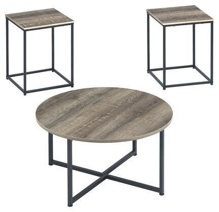 Wadeworth Collection T103-213 3-Piece Occasional Table Set with One Round Table and 2 Square End Table in