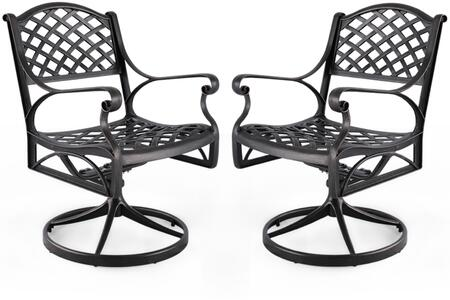 CD003 Set of 2 Cast Aluminum Patio Dining Swivel Chair with Intricate Mesh Seat and Backrest  Rust and Weather Resistant Construction in Antique