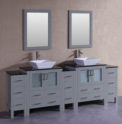 AGR230SQBGXS 96 inch  Double Vanity with Black Tempered Glass Top  Flared Square White Ceramic Vessel Sink  F-S02 Faucet  Mirror  4 Doors and 13 Drawers in