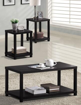 Wei Collection 08276CET 3 PC Living Room Table Set with Coffee Table + 2 End Tables in Espresso