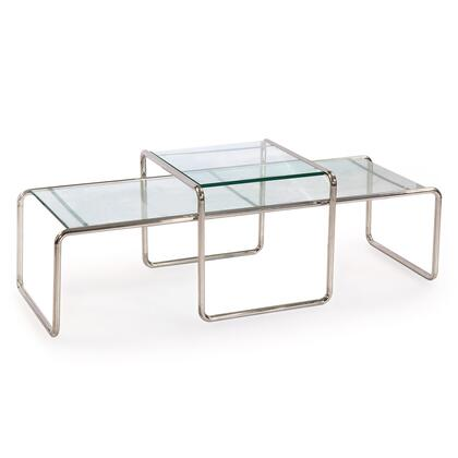 LACCIO-TABLE-SS-CC Laccio Style Nesting Coffee Table Set  Stainless Steel/Tempered Clear
