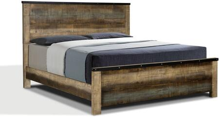 Sembene Collection 205091Q Queen Size Panel Bed with Clean Line Design  Rough Sawn Planked Solid Wood Construction  Metal Edge Band with Nailheads and
