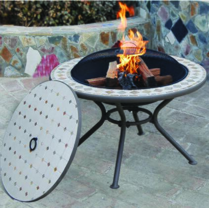 DM-3651-SM Marble Milano Fire Pit Table in