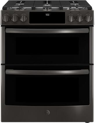 GE Profile PGS960BELTS 30 Inch Slide-in Gas Range with Sealed Burner Cooktop in Black Stainless Steel
