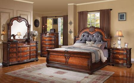 22310Q5PCSET Nathaneal Queen Size Bed + Dresser + Mirror + chest + Nightstand with Decorative Carving Style  Black PU Button Tufted Like Headboard  Wood