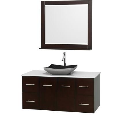 WCVW00948SESWSGS1M36 48 in. Single Bathroom Vanity in Espresso  White Man-Made Stone Countertop  Altair Black Granite Sink  and 36 in.