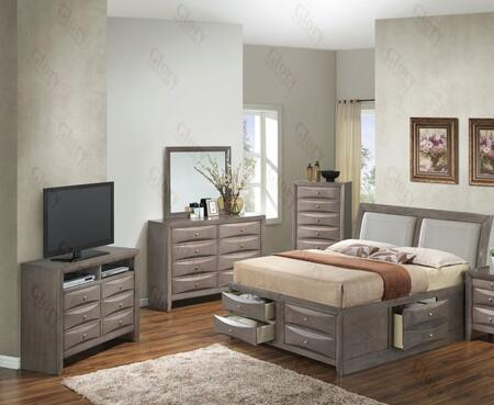 G1505ITSB4CHDMTV2 5 Piece Set including  Twin Size Bed  Chest  Dresser  Mirror and Media Chest  in