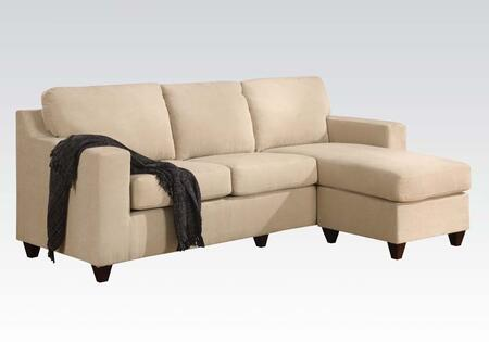 Vogue 05913A 86 inch  Reversible Chaise Sectional with Accent Pillows  Tapered Wood-Like Legs  Microfiber Upholstery  Loose Back and Seat Cushion in Beige