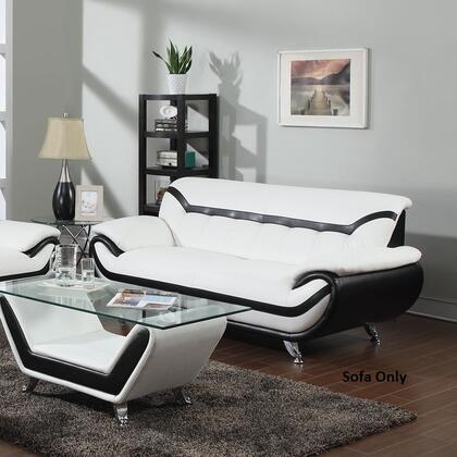 Rozene Collection 51155 77 inch  Sofa with Chrome Legs  Tufted Back Cushions  Wood Frame and Bonded Leather Upholstery in Black and White