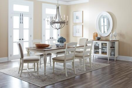 Castle Hill Collection 1776848SET 8 PC Dining Room Set with Dining Table + Server + 4 Ladder Back Chairs + 2 Solid Back Chairs in Antique White and Oak