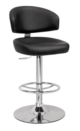 Deka Collection 96257 26 inch  - 35 inch  Adjustable Stool with Swivel Seat with Gas Lift  Bentwood Seat Frame  Chromed Steel Tube and PU Leather Upholstery in Black