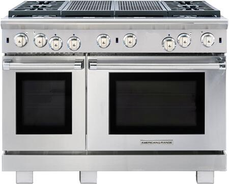 ARR-448X2GRL 48 inch  Cuisine Series Gas Range with 4.4 & 2.4 cu. ft. Ovens  4 Sealed Burners  22 inch  Grill  Automatic Electronic Ignition and Continuous Cast Iron