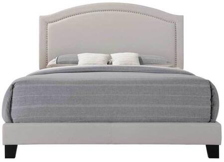 Garresso Collection 26340Q Queen Size Bed with Nail Head Trim  Curved Shape Headboard  Low Profile Footboard  Rubberwood Construction and Fabric Upholstery in