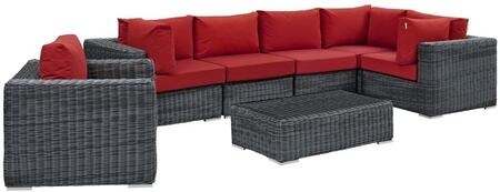Summon Collection EEI-1892-GRY-RED-SET 7 Piece Outdoor Patio Sunbrella Sectional Set with Arm Chair  Coffee Table  3 Corner Chairs and 2 Armless Chairs in